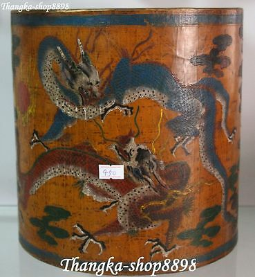 China Wood Lacquerware Dragon Dragons Pen Container Pencil Vase Brush Pot Holder