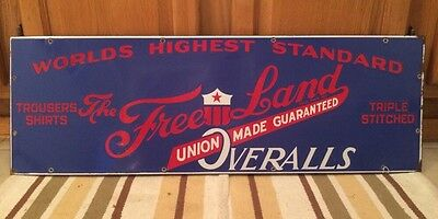 Vintage Porcelain Sign 1920's FREE LAND Overalls Union Made Work Clothes Rare