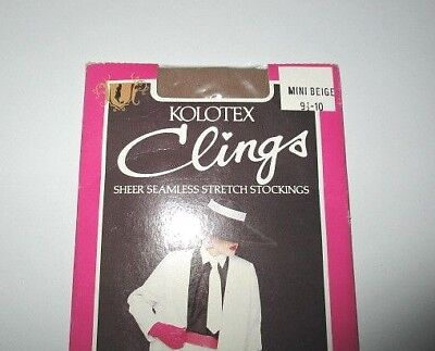 Kolotex Clings Sheer seamless Stretch Stockings Mini-Beige Average size. Vintage