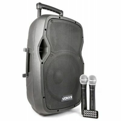 Vonyx Ap1200-Pa Portable Speaker With Dual Wireless Microphone
