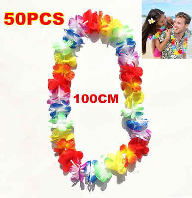50pcs Hawaiian Flower Lei Leis Necklace Tropical Beach Theme Luau Party Flower