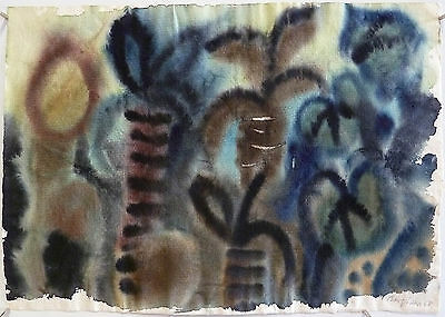 Eduard Bargheer: Vegetation (1968). Original-Aquarell, signiert und datiert.