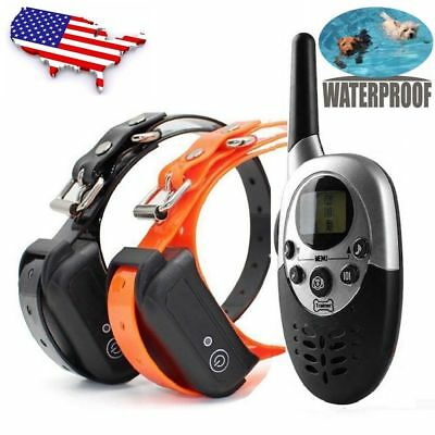 1000 Yard Waterproof IP67 Rechargeable Pet Training Remote Shock Dog E-Collar US