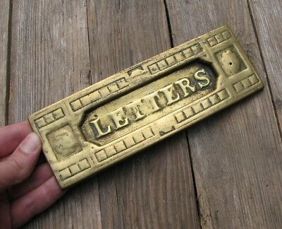 Old Reclaimed Brass Letter Box Plate / Door Mail Slot / Mailbox