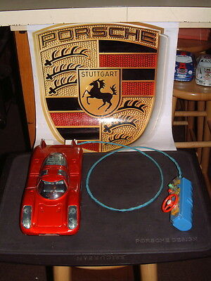 Rare Antique Tin Bandai Porsche 908 W/tethered Remote Control Working Perfectly!