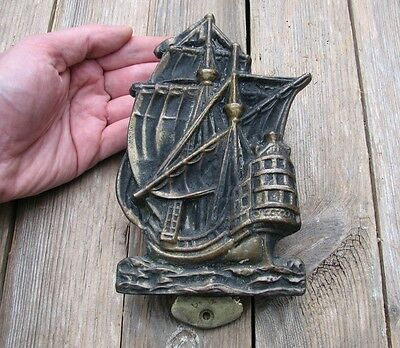 Old Reclaimed Solid Brass Ship / Galleon Door Knocker