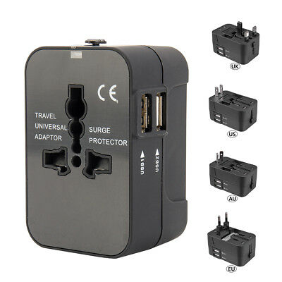 World Wide International Universal Travel Adapter Dual USB PORT AU/UK/US/EU Plug