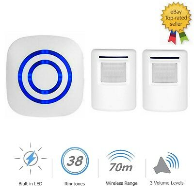 38 Chime PIR Motion Sensor Wireless Doorbell LED Driveway Alarm Security Alert