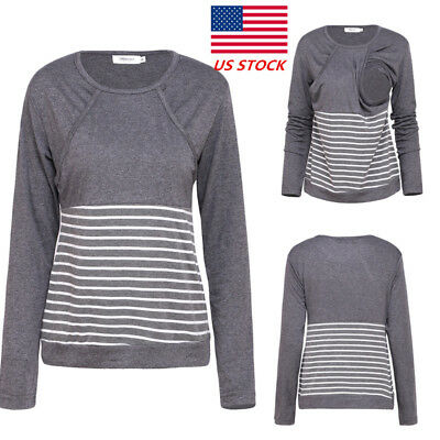 Womens Pregnancy Maternity Clothes Breastfeeding Nursing Striped Outdoor Blouse