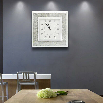 Large Square Diamante Crystal Glass Surround Wall Clock Mirrored Analogue Clock