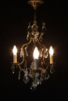Classic Antique  French Gilt Bronze With Crystal Drops 3 Branch Chandelier 1900