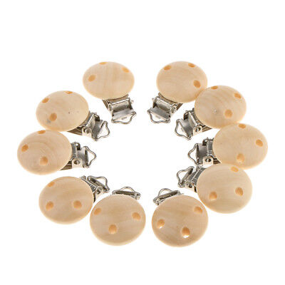 Natural Infant Baby Wooden Pacifier Suspender Clips Holder Soother Dummy Nipple