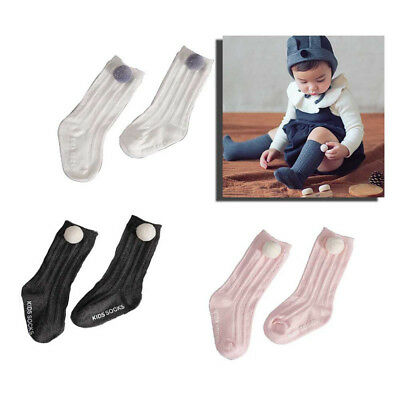 Cute Kid Baby Girl Toddler Knee High Long Pom Socks Bow Cotton Casual Stockings