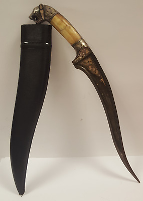 Antique Dagger High Quality Damascus Stainless Steel Sterling Silver Mosaic Bone