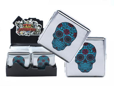 Hard Case Metal Blue Sugar Candy Skull Cigarette Holder Push Tobacco Case
