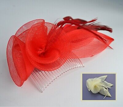 Cream/bright red mesh & feather rosebud fascinator hair comb. Wedding/races. UK
