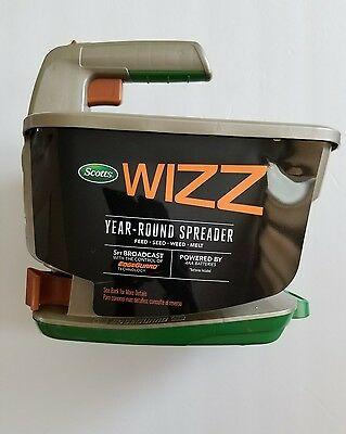Scotts Wizz 2,500Sq Ft Handheld Power Spreader Lawn Seed Fertilizer Broadcaster