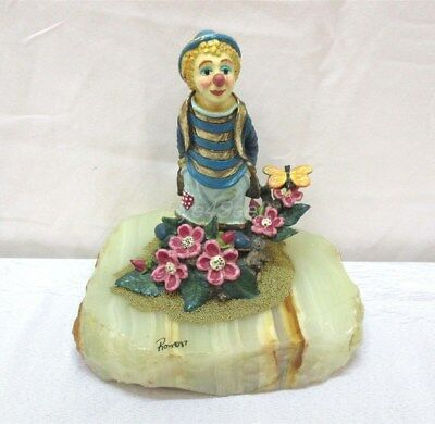 "Vintage Ron Lee ~ 6"" ""Happiness Is"" Clown Figurine ~ w/ Flowers & Quartz Base"