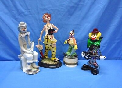 Set of 4 ~ Porcelain Ceramic Glass Clown Figurine ~ Casades APLEX ~ BEAUTIFUL✨