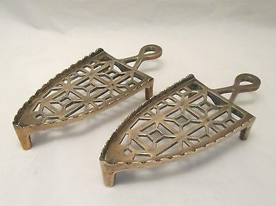 A Fine Pair of Brass Trivets for Irons - 19th Century