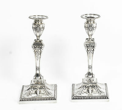 Antique Pair of Edwardian Sterling Silver Candlesticks 1907