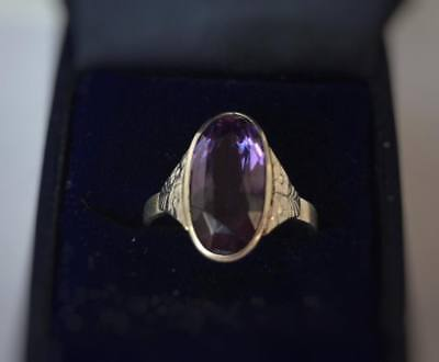 Vintage Ring with Alexandrite Silver 875 USSR Jewelry Soviet Antique Size 9