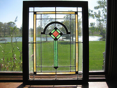 ANTIQUE ARTS AND CRAFTS STAINED GLASS WINDOW - ca. 1920