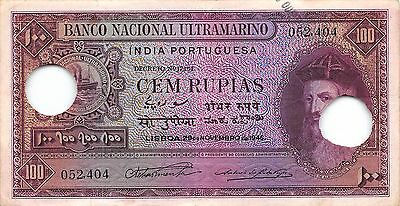 Portuguese India  100  Rupees  29.11.1945 P 39  Circulated Banknote