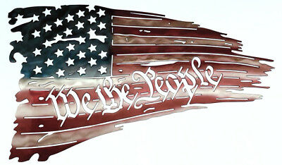 DXF CNC dxf for Plasma Router Vector Tattered Flag We the People Man Cave