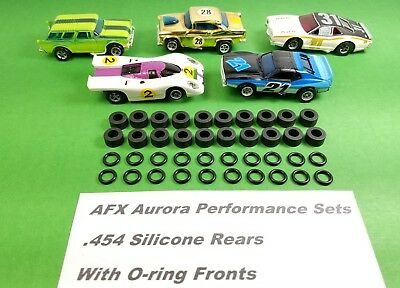AFX Aurora Lot of 10 full sets Front O-RINGS & REAR SILICONE TIRES HO Slot Car