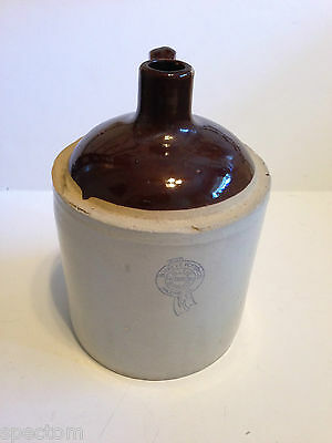 Vintage 1 Gallon Blue Ribbon Buckeye Pottery Brown Top Stoneware Whisky Jug
