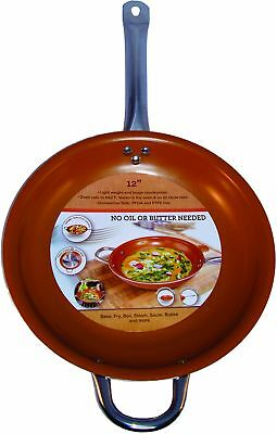 12-Inch Copper Frying Pan Non Stick Ceramic Infused Scratch Proof Titanium Steel