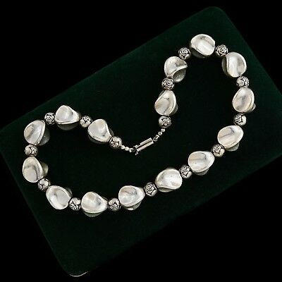 Antique Vintage Deco Retro Sterling Silver Plated Sculpted Rose Bead Necklace