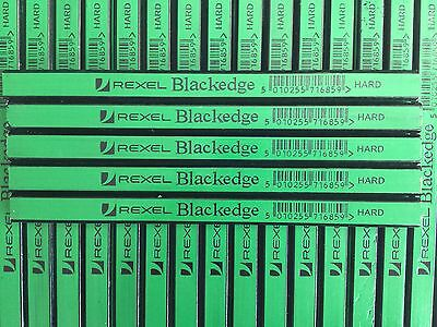 5 X CARPENTERS PENCILS 2H (hard) GREEN REXEL BLACKEDGE pencils easy sharpening