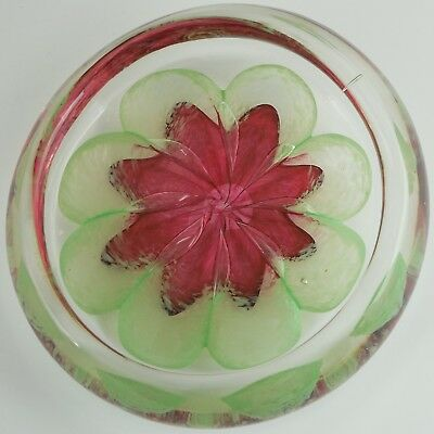 Paperweight Flower Bowl, Thick Clear / Green Glass Encasing 8 Petal Flower HEAVY