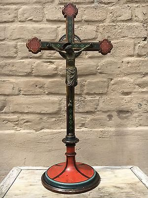 SALE!Stunning Large Neo Gothic  Church Altar Crucifix/Cross corpus wood & bronze