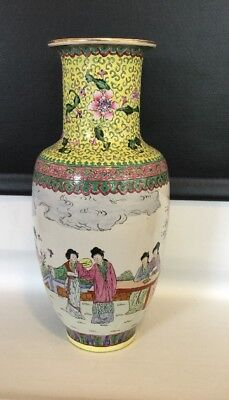 Japanese Hand Painted China Vase Satsuma Garden Scene Great Coloring