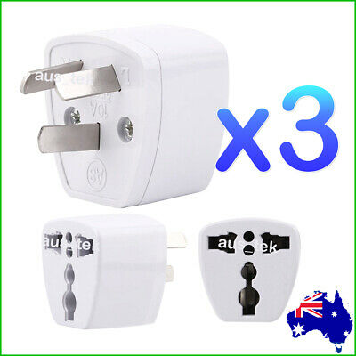 3x Universal Travel Adapter International UK USA EU to AU Australian Power Plug