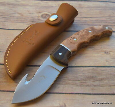Elk Ridge Burl Wood Handle Fixed Blade Hunting Knife With Gut Hook & Sheath