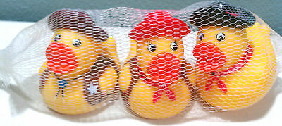 Rubber Duckie Duck Duckey Squirter Western Set of 3 Sheriff Cowboy Bath Toy 3""