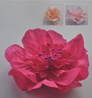 Nude/apricot/baby or hot pink fabric flower hair clip/slide/mini fascinator. UK