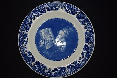 """Vintage Delft Blue Hand Painted Plate with """"Old Woman Reading"""""""