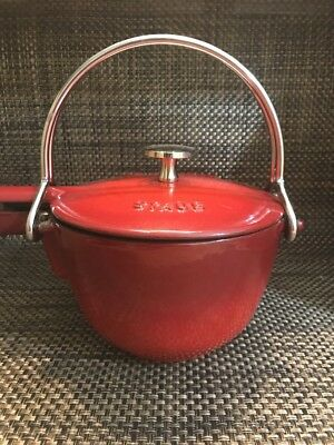 Staub La Theiere Red Enameled Cast Iron Tea Kettle Pot Great Used Condition