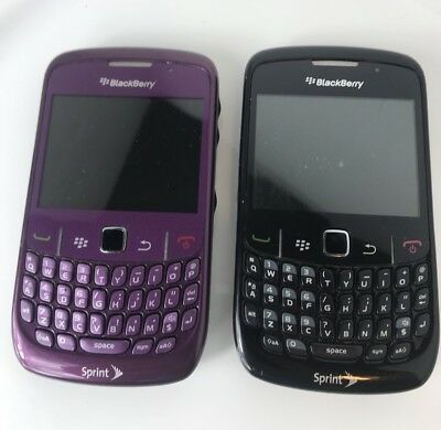 lot of 2 Blackberry 9360 Curve sprint Cell Phone black, purple