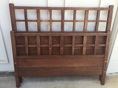 Antique Mission Arts & Crafts Solid Oak Head & Foot Board Full Bed Stickley ?