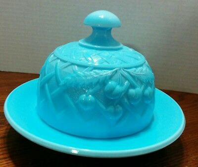 Light Blue Milk Glass Domed Butter Cheese Dish Round Cherries Pattern
