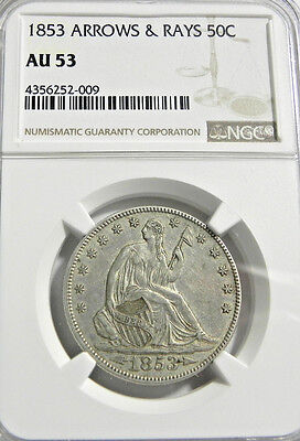 1853 Seated Liberty Half Dollar NGC AU 53 Never Cleaned Original Very Nice!!