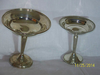 Antique Pair Sterling Silver Long Stem Compotes