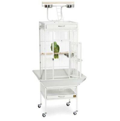 Large Bird Cage Cockatiel Feeder Rolling Portable Stand House Crate White Iron