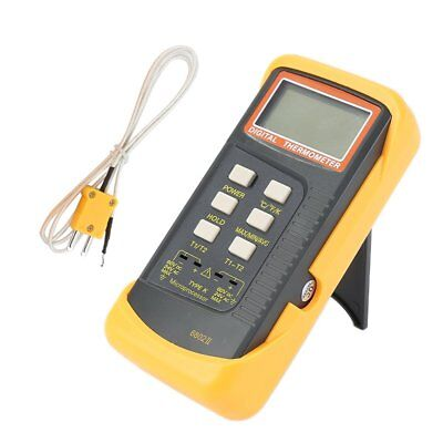 6802 II Dual Channel Digital Thermometer 2 K-Type Thermocouple Sensor Probe Mode